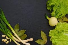 莴苣、圆白菜、大蒜、月桂叶和葱叶子在bl 免版税库存照片