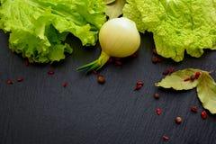 莴苣、圆白菜、月桂叶和葱叶子在黑板条 免版税库存照片