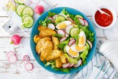 莴苣、黄瓜和萝卜可口被烘烤的土豆、熟蛋和新鲜蔬菜沙拉  戒毒所饮食的夏天菜单 免版税库存照片