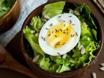 莴苣叶子和鸡蛋沙拉在木碗播种小茴香大面包黑暗背景 免版税库存照片