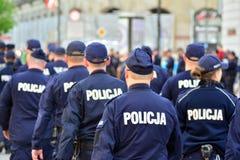 获取波兰民族主义者的示范的警察局 免版税库存图片