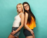 获得两个女孩的朋友一起站立和乐趣 在bl 免版税图库摄影