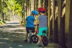 获得两个小男孩的孩子在平衡自行车的乐趣在国家 库存图片