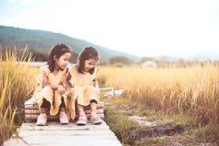获得两个愉快的亚裔小孩的女孩一起使用的乐趣 图库摄影