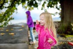 获得两个逗人喜爱的小女孩乐趣在美好的秋天天 使用在秋天公园的愉快的孩子 免版税库存图片