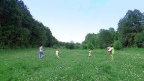 他们获得乐趣与他们的母亲一起的孩子使用与在春黄菊草甸的球,在森林附近 股票视频