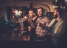 获得乐趣和喝桶装啤酒的老朋友在酒吧柜台在客栈 免版税库存照片