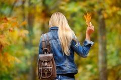 获得乐趣在秋天公园 库存照片