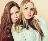 获得冬天的毛线衣的两个年轻女朋友户内乐趣 Lif 免版税图库摄影