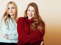 获得冬天的毛线衣的两个年轻女朋友户内乐趣 Lif 库存照片