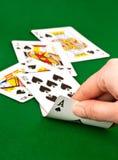 获得在扑克牌游戏的同花顺 免版税图库摄影