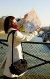 获得失去的巴黎游人 库存图片
