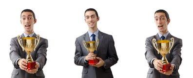 获得奖的商人拼贴画 库存照片