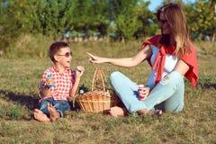 获得年轻时髦的母亲与她的小儿子的乐趣野餐的露天 男孩吹肥皂泡和笑 库存照片