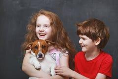 获得愉快的孩子演奏和与她的小狗的乐趣 库存照片