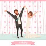 获得愉快的已婚的夫妇在舞池上的乐趣用手 杏仁庆祝红色某个婚礼 经典衣服的有胡子的新郎,新娘 库存例证