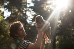 获得愉快的快乐的父亲乐趣在公园投掷悬而未决他的孩子在晚上-故意太阳强光和 免版税图库摄影