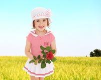 获得甜的孩子室外的乐趣 库存照片