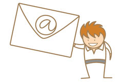 获得电子邮件的人 免版税库存图片