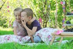 获得的姐妹和的兄弟在野餐的乐趣 免版税库存图片