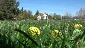 获得的孩子的慢动作会集鸡蛋的乐趣在复活节狩猎 影视素材