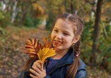 获得的小女孩美好的秋天的乐趣 库存照片