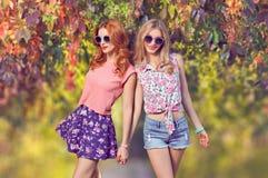 获得的时装模特儿乐趣,时髦的夏天成套装备 库存照片