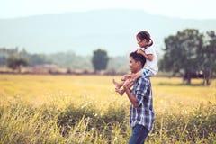 获得的父亲和的女儿乐趣一起使用在玉米田 免版税库存照片