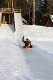 获得的系列在雪撬的乐趣 免版税库存照片