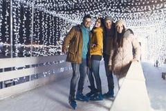 获得的青年人乐趣在一个冬天晚上 库存图片