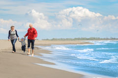 获得观点的愉快的年轻的家庭在海滩的乐趣 库存图片