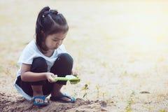 获得逗人喜爱的亚裔小孩的女孩乐趣使用与沙子 免版税库存图片