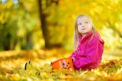 获得逗人喜爱的小女孩乐趣在美好的秋天天 使用在秋天公园的愉快的孩子 会集黄色秋叶的孩子 免版税库存照片