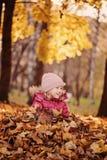 获得逗人喜爱的微笑的儿童的女孩垂直的画象在晴朗的秋天步行的乐趣 库存图片