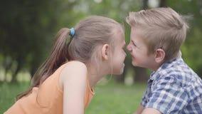 获得逗人喜爱的男孩和的女孩侧视图坐在公园,磨擦他们的鼻子和乐趣 两三个愉快的孩子 股票视频