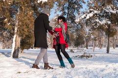 获得年轻的夫妇在雪的乐趣 库存照片