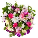 菊花和玫瑰在花花束 库存照片