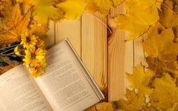 菊花,在桌上的秋叶开放书和小花束  免版税图库摄影
