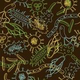 细菌无缝的样式 免版税库存图片