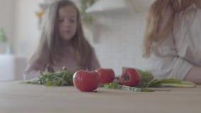 菜、蕃茄、葱和绿色的关闭在桌上 妇女和小女孩剪影背景的 影视素材