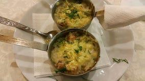 菜丝汤用蘑菇和火腿 库存照片
