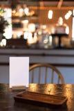 菜单卡片在餐馆 免版税图库摄影