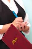 菜单和女服务员 免版税库存图片