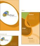 菜单和co的名片模板设计  免版税库存图片