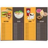 菜单快餐模板设计图表集合 免版税库存照片