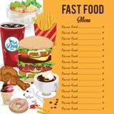 菜单快餐模板设计图表集合 图库摄影