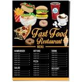 菜单快餐模板设计图表集合 免版税库存图片