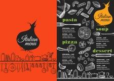 菜单意大利餐馆,食物模板placemat 库存图片