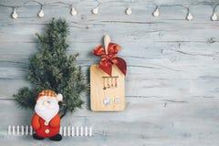 菜单或圣诞节食谱的空的背景 免版税库存图片