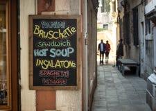 菜单标志威尼斯 库存图片
